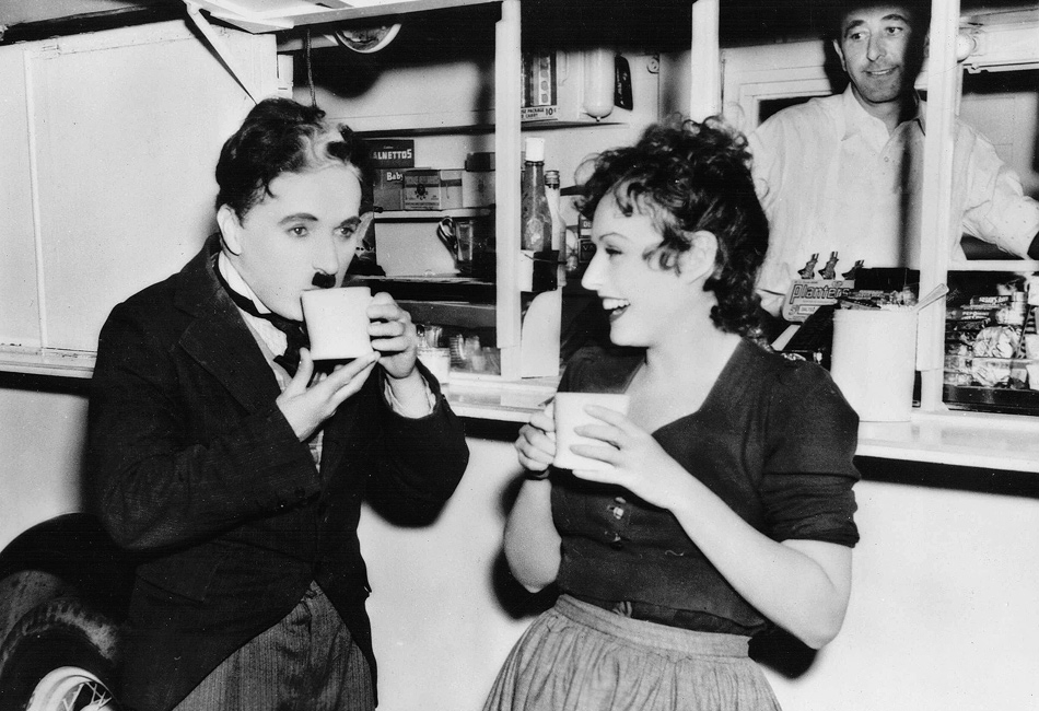 Charlie Chaplin and Paulette Goddard on set of The Great Dictator 1940