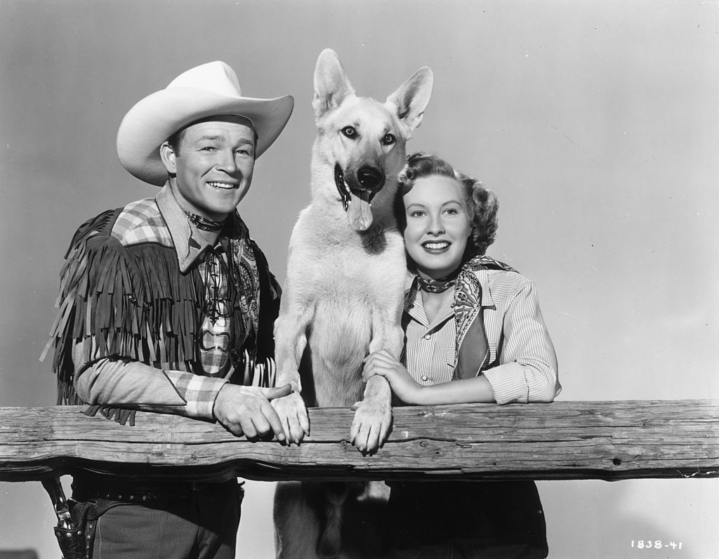 Roy Rogers With a Dog And actress Penny Edwards