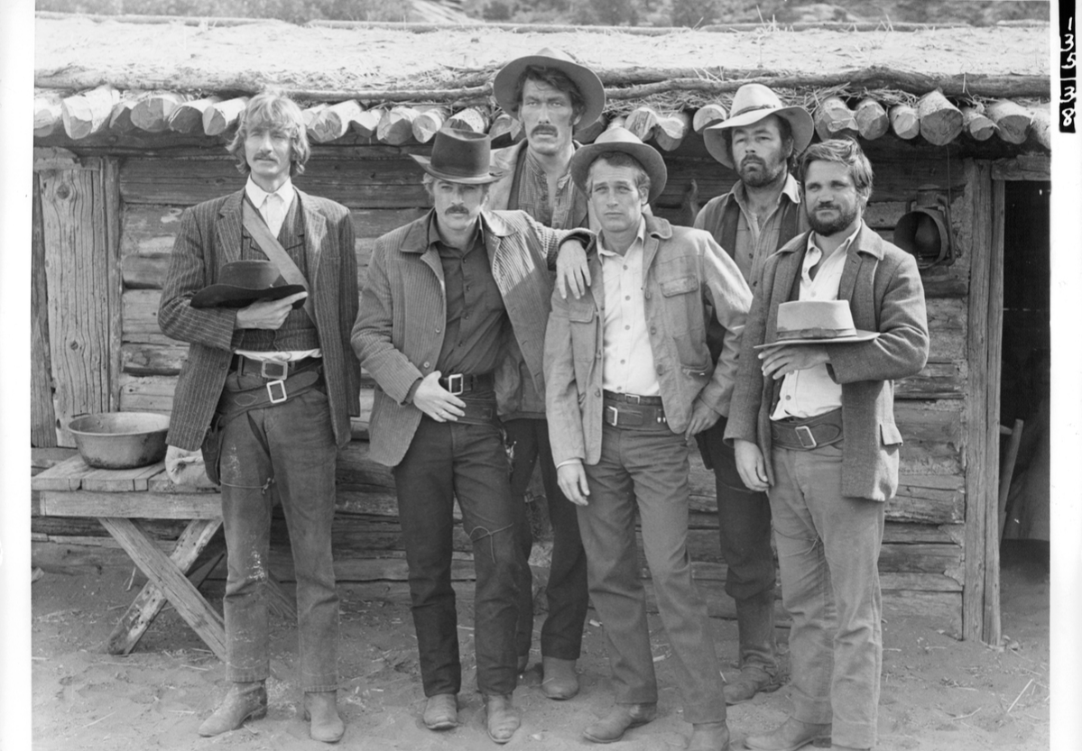 Timothy Scott, Robert Redford, Ted Cassidy, Paul Newman, Donnelly Rhodes, Charles Dierkopin in promotional portrait for the film 'Butch Cassidy And The Sundance Kid', 1969.