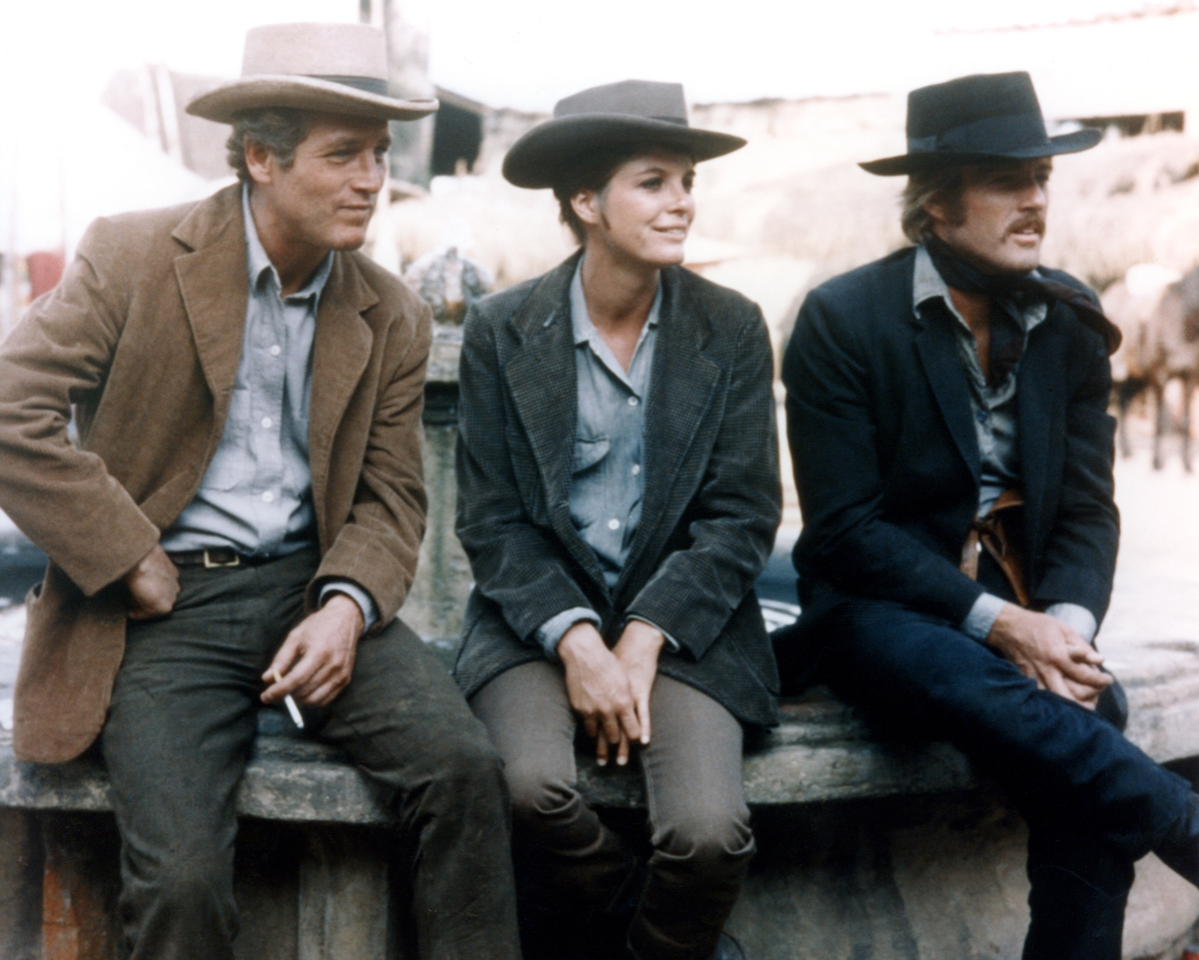 American actors Katharine Ross, Robert Redford and Paul Newman on the set of Butch Cassidy and the Sundance Kid, directed by George Roy Hill.