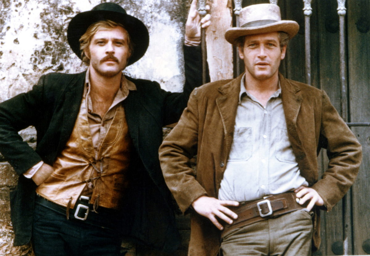 American actors Robert Redford and Paul Newman on the set of Butch Cassidy and the Sundance Kid, directed by George Roy Hill.