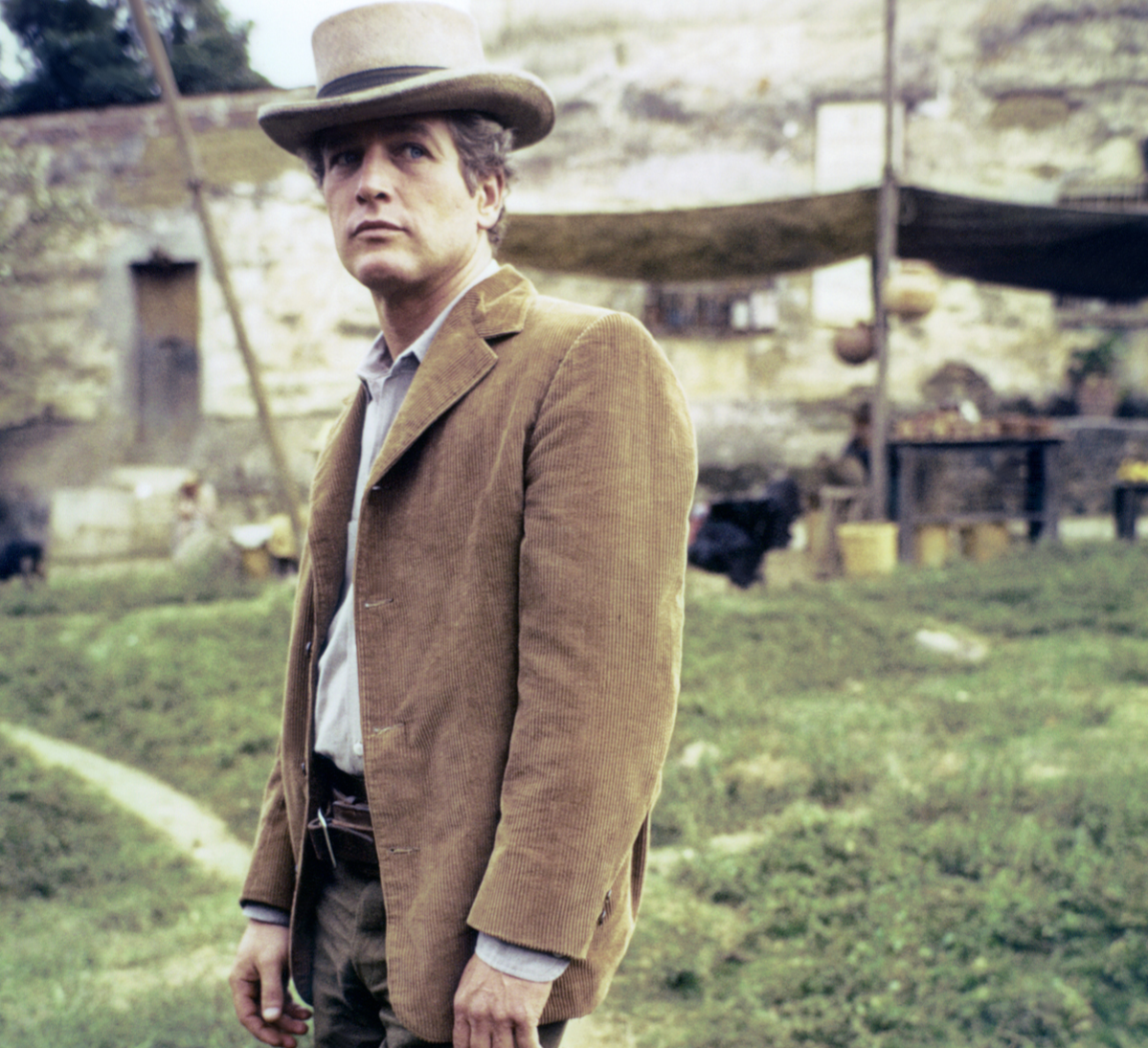 American actor Paul Newman on the set of Butch Cassidy and the Sundance Kid, directed by George Roy Hill.