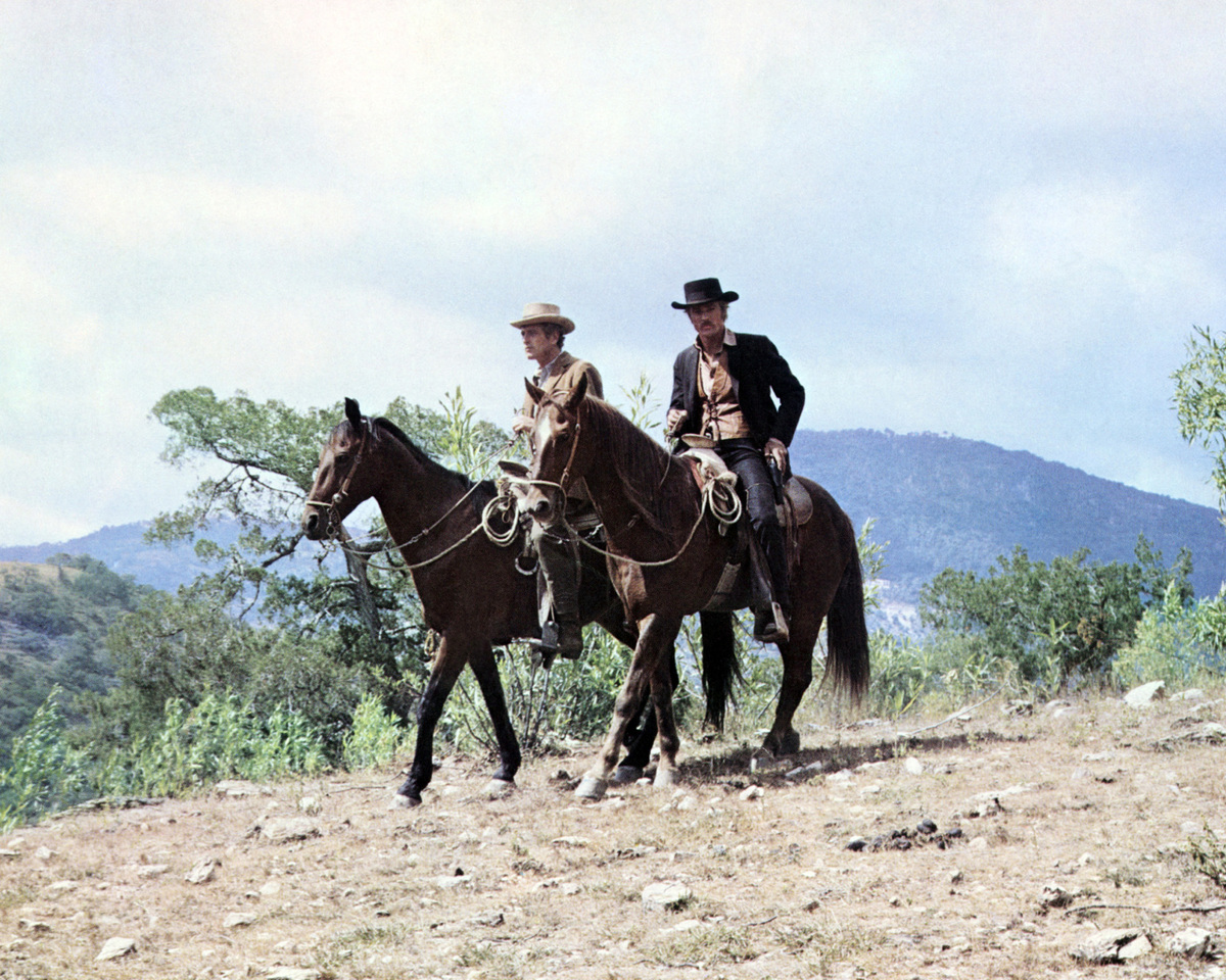 Actors Paul Newman (1925 - 2008, left) as Butch Cassidy and Robert Redford (right) as The Sundance Kid in a still from the film 'Butch Cassidy and the Sundance Kid', 1969.