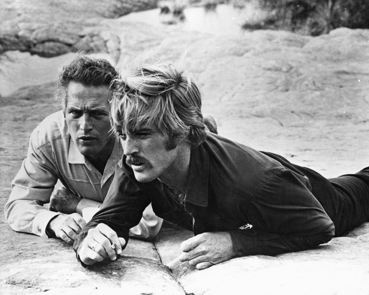 American actors Robert Redford (right) as The Sundance Kid, and Paul Newman (1925 - 2008) as Butch Cassidy in 'Butch Cassidy and the Sundance Kid', directed by George Roy Hill, 1969.