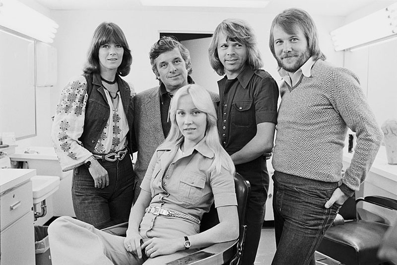 Abba pose for a photo in their dressing room backstage at Saturday Night Live.