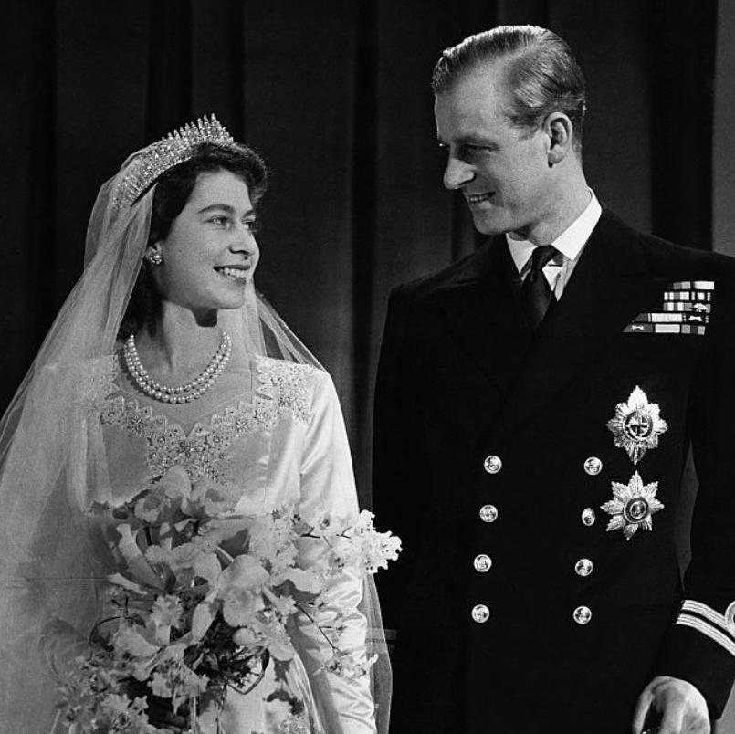 GettyImages-613465636 Princess Elizabeth, later Queen Elizabeth II with her husband Phillip, Duke of Edinburgh, after their marriage, 1947