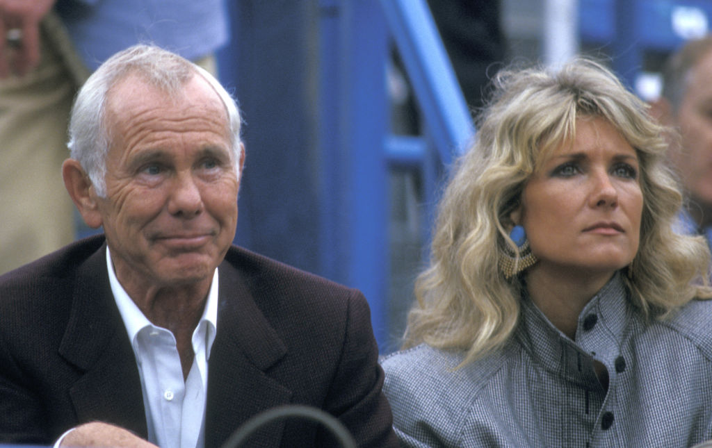 Johnny Carson and Wife during U.S. Tennis Open