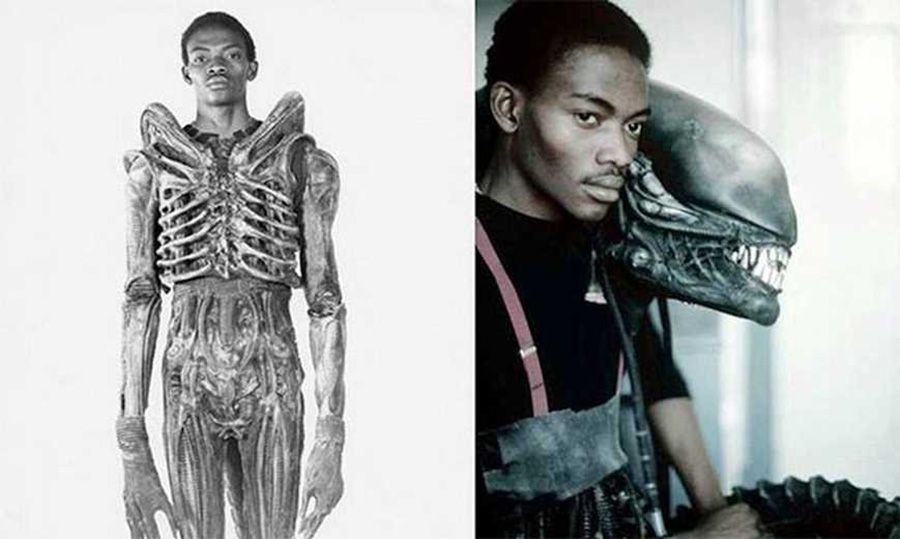 Bolaji Badejo in and next to his Alien costume.