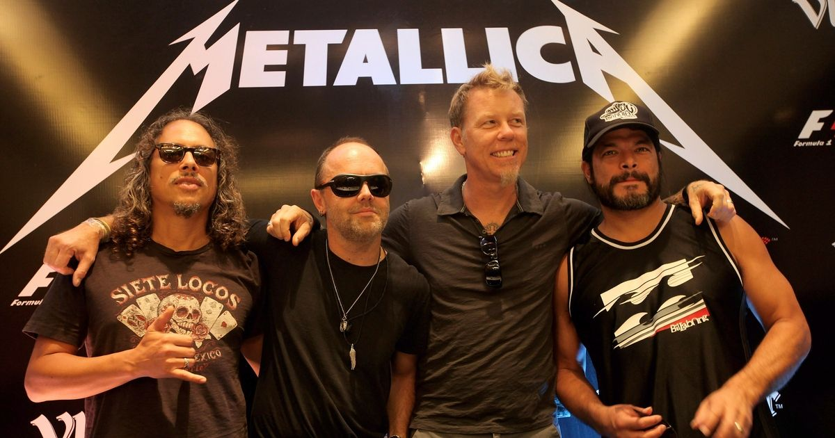 Kirk Hammett (L), Lars Ulrich (CL), James Hetfield (CR) and Robert Trujillo (R) from Metallica